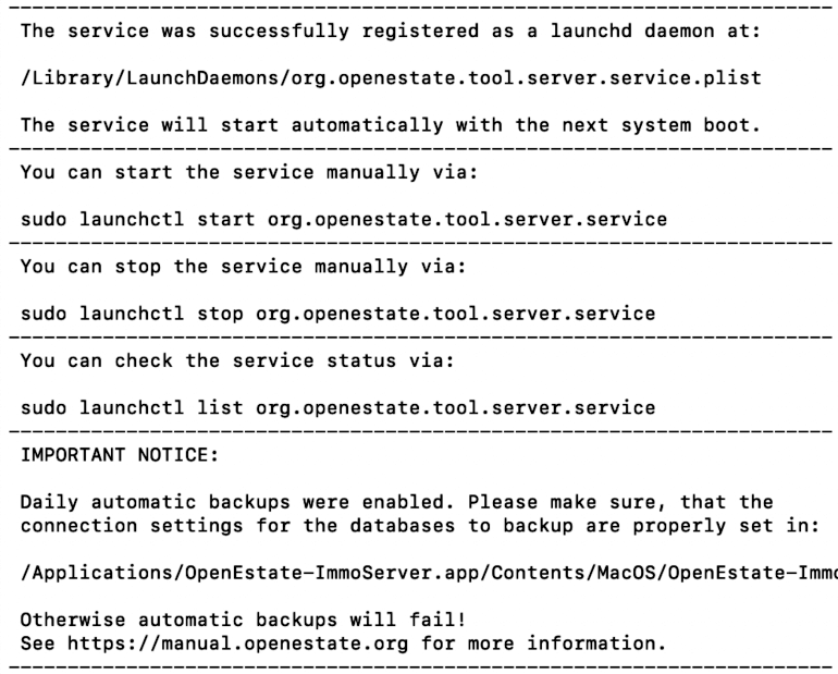 Setup a service for ImmoTool-Server (Manual for OpenEstate